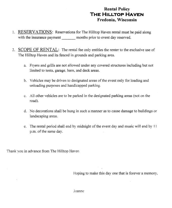 The Hilltop Haven Rental Agreement The Hilltop Haven